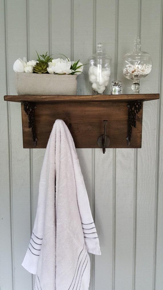 wooden bathroom shelf towel rack