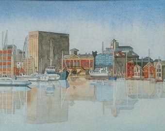 Old Ipswich Waterfront Signed and Mounted Print