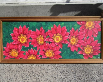 PINK GAZANEA'S  (South African daisies)  acrylic painting on canvas