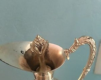 Vintage F III Acqui Leaded Crystal Silver Plated Decanter/Pitcher Diamond Cut