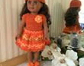 "Crocheted 18"" &AG Dolls-Wendy in Burnt Orange W/ Hat, Shoes"