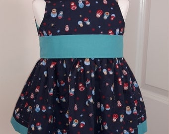 handmade cotton dress with sash and bow