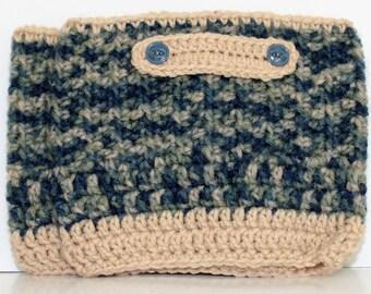 Boot Cuffs Crochet w/ Buttons - Blue/Green/Tan - Large
