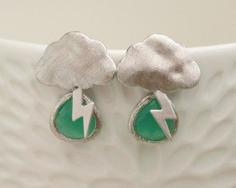 Jade Green faceted glass earrings, with stormy clouds and lightening Matt Rhodium plated.
