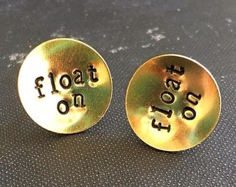 Float On Hand Stamped Charm Earrings