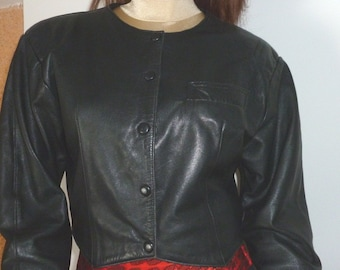"""Chanel"" jacket vintage leather, leather, leather jacket short jacket style"