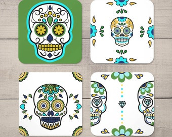 Mexican Sugar Skulls - Day Of The Dead - Halloween Party Decor - Drinks Coasters Set of 4
