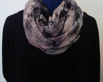 Gray, Tan, and Black Floral - Infinity Scarf
