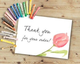 Thank you for your order Thank you for your purchase card, Thank you for your order, Printable Thank you card. Watercolor thank you card.