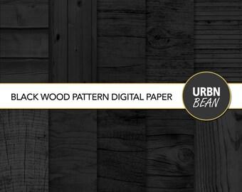 Wood Digital Paper, Black Wood Background, Wood texture, Scrapbooking Paper. Printable. Instant Download