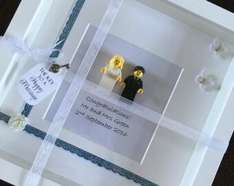 Wedding lego bride and groom frame