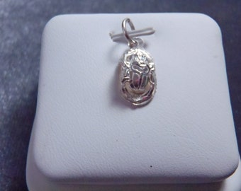 Sterling Silver Tiny Scarab Beetle Charm RC10