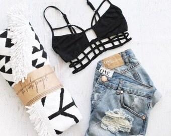 black bralette strappy bralette black strappy bra top soft bra