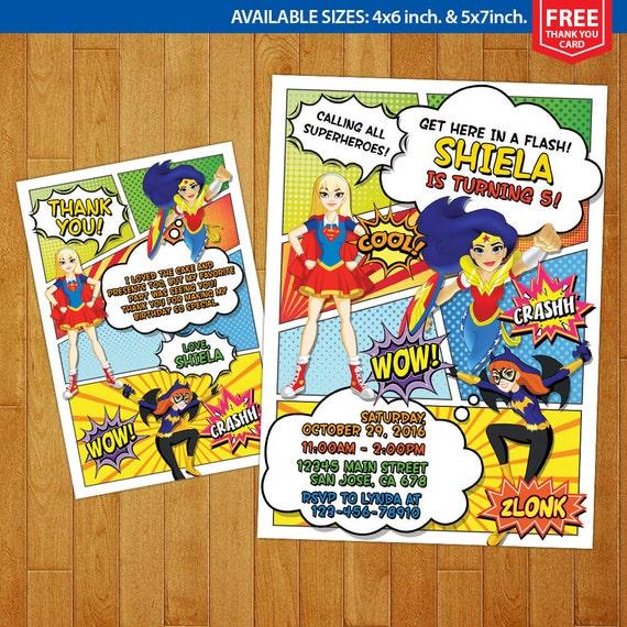 DC Superhero Girls Invitation DC Superhero by MrGeniusInvites