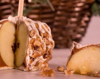 4 Walnut Caramel Apples
