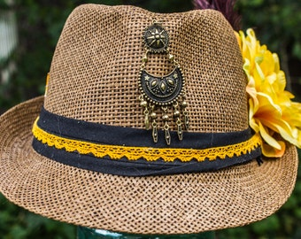 Dark Straw Fedora with custom Feathers and Flowers