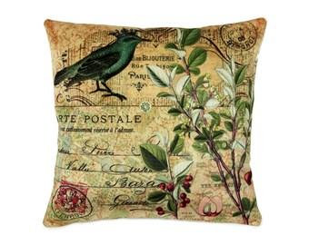 Vintage French Postcard Pillow, Decorative Pillow, Blue bird, crown, botanical print, art on pillow, Vintage Paris, Postal stamp