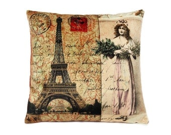 vintage postcard pillow cover, eiffel tower, french postage, collage art, decorative pillow case, art pillow, accent pillow