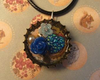 Blue clockwork flowers steampunk upcycled pendant