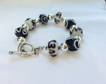 Silver and art glass LOVE bracelet