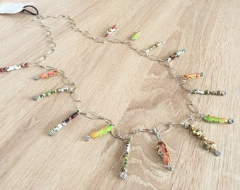 Custom necklace with cloisonne beads in seahorse forms - communication