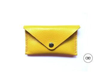 Yellow card holder handmade