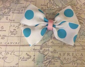 blue polka dots hair bow!!