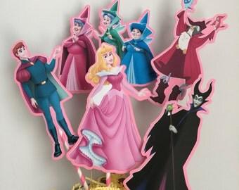 Disney Sleeping Beauty Set of 5 Centerpiece Picks (Double-Sided)