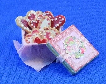 Dollhouse Miniature Valentine Cookie Tin filled in twelfth scale, 1:12 scale.  Item #130.