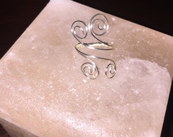 Adjustable Sterling Sliver wire wrapped swirl ring