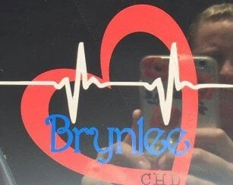 """Personalized congenital heart defect awareness (CHD) window decal approx 4.5"""""""
