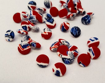10 Union Jack Buttons. Red, White and Blue; Covered Buttons.
