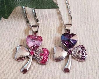 Beautiful Heart Clover, rhinestone necklaces!!