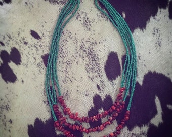 Teal and red stone necklace
