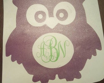 Personalized Owl Monogram Decal