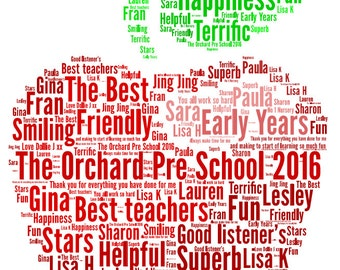 Personalised Teacher's Apple Word  Art picture - Christmas, end of term Thank you