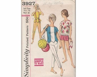 1960's Simplicity 3927 Sub Teen Pants, Shorts & Tops Vintage Sewing Pattern Size 14