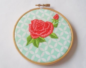 Hand embroidered romantic roses