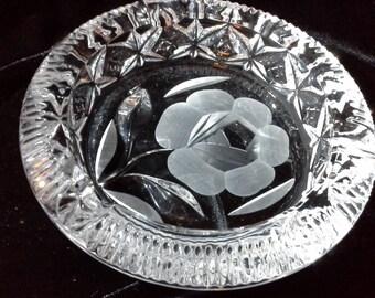 "Ashtray/change dish - heavy pressed/cut glass 5.5"" diameter"