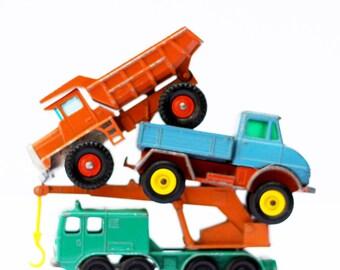 Vintage Matchbox Car Print - Construction Stack - Kids Room Decor
