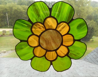 Beautiful Large Stained Glass Flower Suncatcher -Green and Yellow