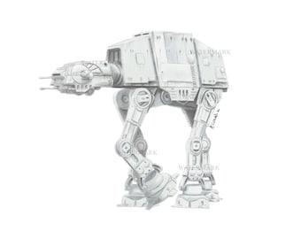 Star Wars AT AT Print. Empire strikes back