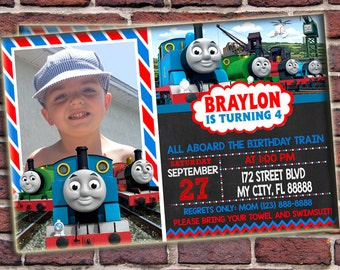 thomas invitation | etsy, Birthday invitations