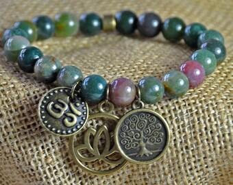 Lotus, Yoga Bracelet,Indian Agate Gemstone Bracelet,Tree of Life Mala Healing Bracelet,Meditation Japa Mala,Reiki Bracelet,Spiritual mala