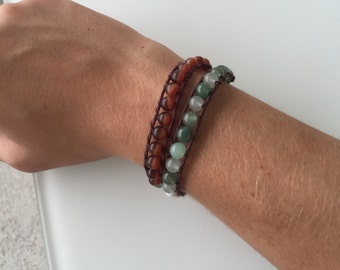 Double wrap beaded bracelet! Earthy colors: green brown and off white
