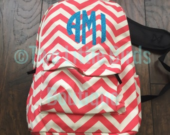Monogrammed Chevron Coral Backpack