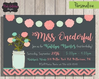 Miss Onederful, Miss Onederful Invite, Miss Onderful Invitation, First Birthday Invite, Girl First Birthday Invite, DIGITAL FILE