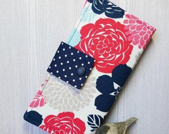 Pink Navy floral Womans wallet, handmade bifold wallet, fabric clutch wallet, women's wallet, card wallet, checkbook wallet, gift idea