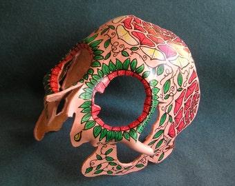 Handmade Leather Sugar Skull mask-pink color