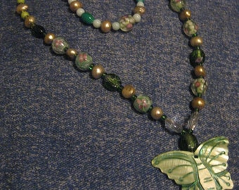 Green butterfly beaded necklace with matching bracelet
